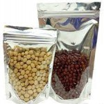 ONE SIDE TRANSPARENT ONE SIDE SILVER  STAND UP POUCH WITH ZIPPER